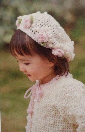 画像2: I-18  花モチーフカーディガン&帽子