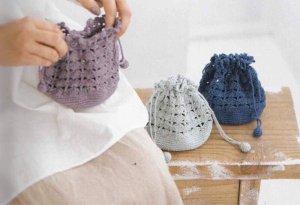 画像1: Y-14 かぎ針編みの巾着ポーチ